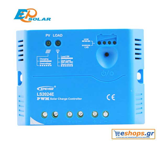 Οικονομικός και αξιόπιστος Ρυθμιστής φόρτισης 20A / 12V τεχνολογίας PWM  Epsolar / EPEVER LS2012E 20A 12V για αυτόνομα  φωτοβολταϊκά συστήματα.