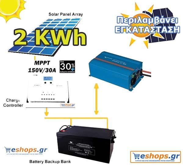 Φωτοβολταϊκό 2kwh με εγκατάσταση για μικρό εξοχικό ή τροχόσπιτο- ΦΩΤΟΒΟΛΤΑΙΚΑ-ΑΥΤΟΝΟΜΑ ΑΥΤΟΝΟΜΑ