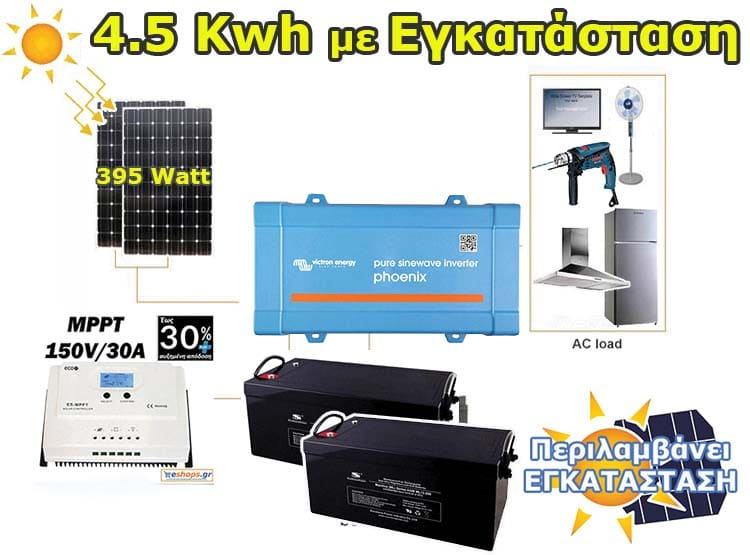 Αυτόνομο Φωτοβολταϊκό με εγκατάσταση έως 4,5kwh (ψυγείο, φωτισμό, τηλεόραση, φορητό υπολογιστή, ανεμιστήρα, φορτιστές, απορροφητήρα ή εργαλεία) Ρεύμα χωρίς την ύπαρξη δικτύου ΔΕΗ σε εξοχική κατοικία