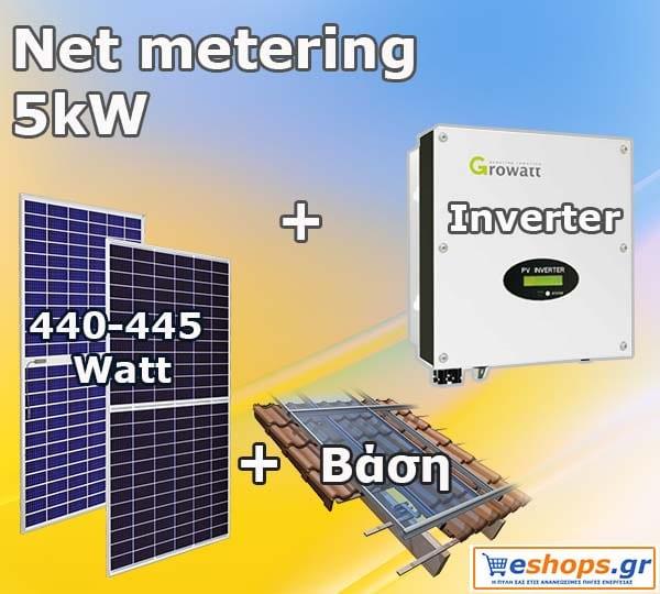 Προσφορά Net metering 5kW φωτοβολταϊκού πακέτου για ενεργειακό συμψηφισμό και εξοικονόμηση σε λογαριασμούς της ΔΕΗ έως 1250 ευρώ ανά έτος.